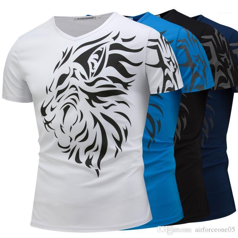 T shirt Aslan Baskılı Tasarımcı Erkek tişörtleri Moda V Yaka Kısa Kollu Yaz Casual Mens Tops