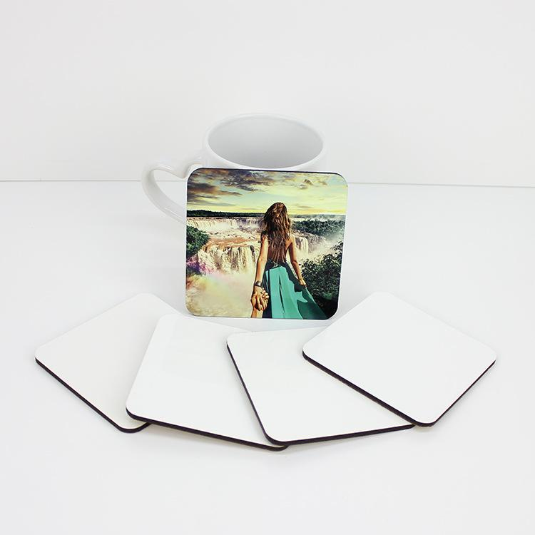 9 ** 9cm والتسامي كوستر العزل فارغة خشبي الجدول ماتس MDF نقل الحرارة كوستر كأس سادات القهوة حصيرة