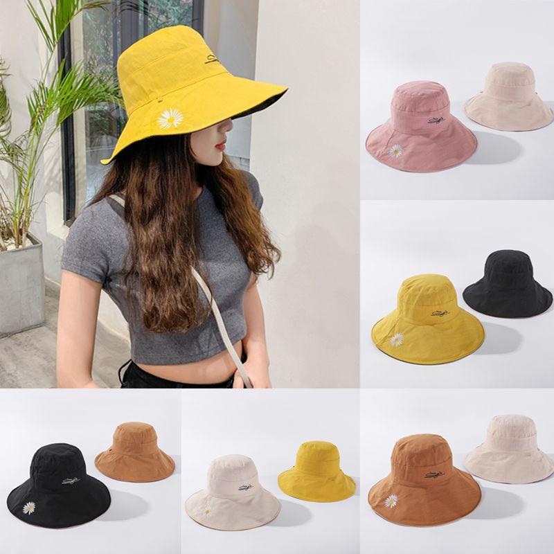 1PC Двусторонний Мода Ромашки Ношение Fisherman Шляпы женские летние Солнцезащитный ВС Hat Вышивка Daisy Sun Hat для женщин