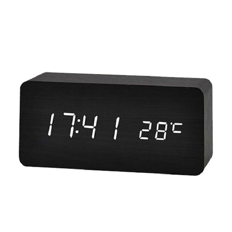 LED Wooden Alarm Clock Watch Table Voice Control Digital Wood Despertador Electronic Desktop USB/AAA Powered Clocks Table Decor LJ200827
