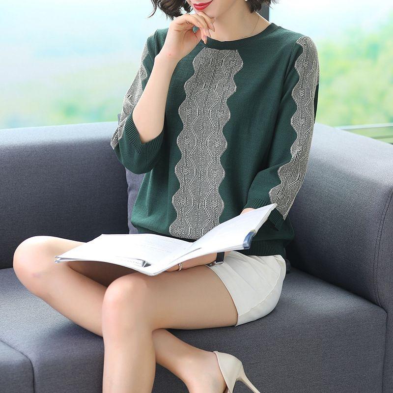 eY2C9 kX8r6 Женские T- свободный новый короткий стиль Корейский топ 2020 трикотажные короткий пиджак тонкой рубашки трикотажные футболки семь четверти рукав льда белья