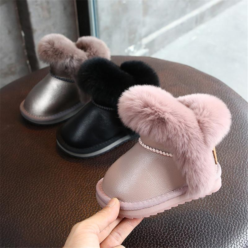 DIMI 2019 Winter Warm Kids Baby Shoes for Boy Girl Toddler Boots PU Leather Waterproof Non-slip Plush Infant Snow Boots Y200404
