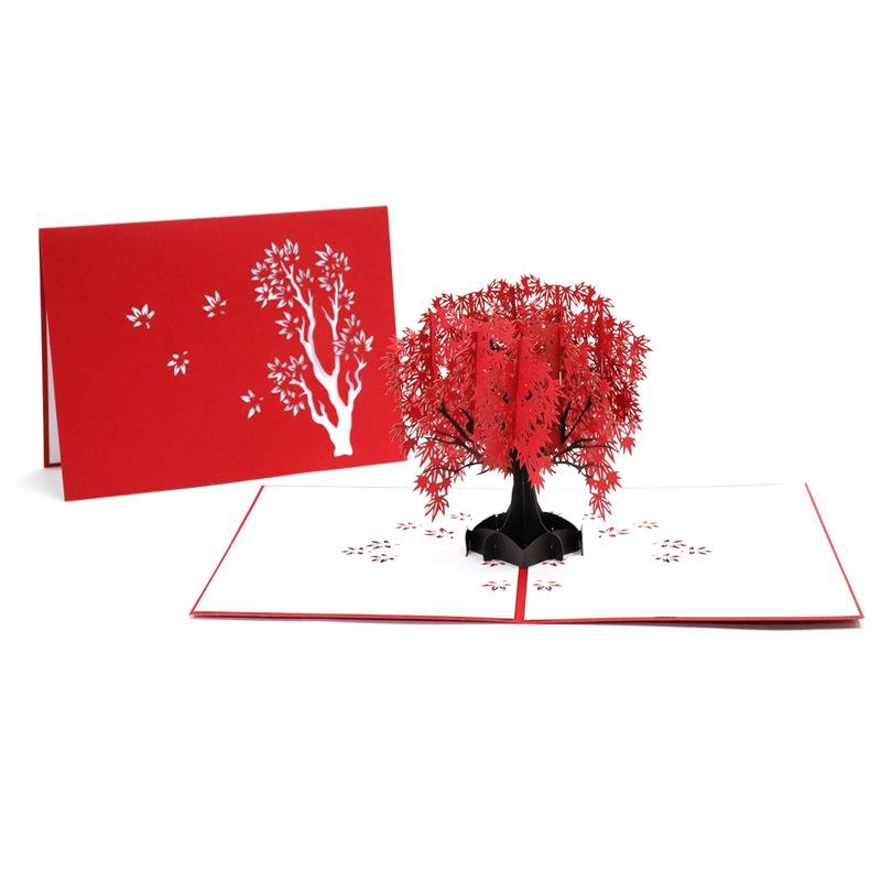 Birthday Blessing Greeting Card Creative 3D Hollow Maple Greeting Cards Fashion Red Maple Tree Paper Cards