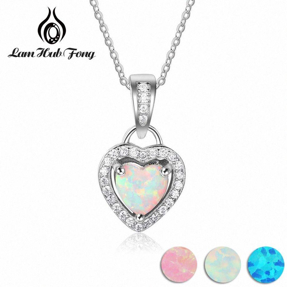 Coeur Blanc Rose Bleu Opale Colliers Pendentifs avec zircon Bijoux argent 925 cadeau fin (Lam Hub Fong) HsZU #