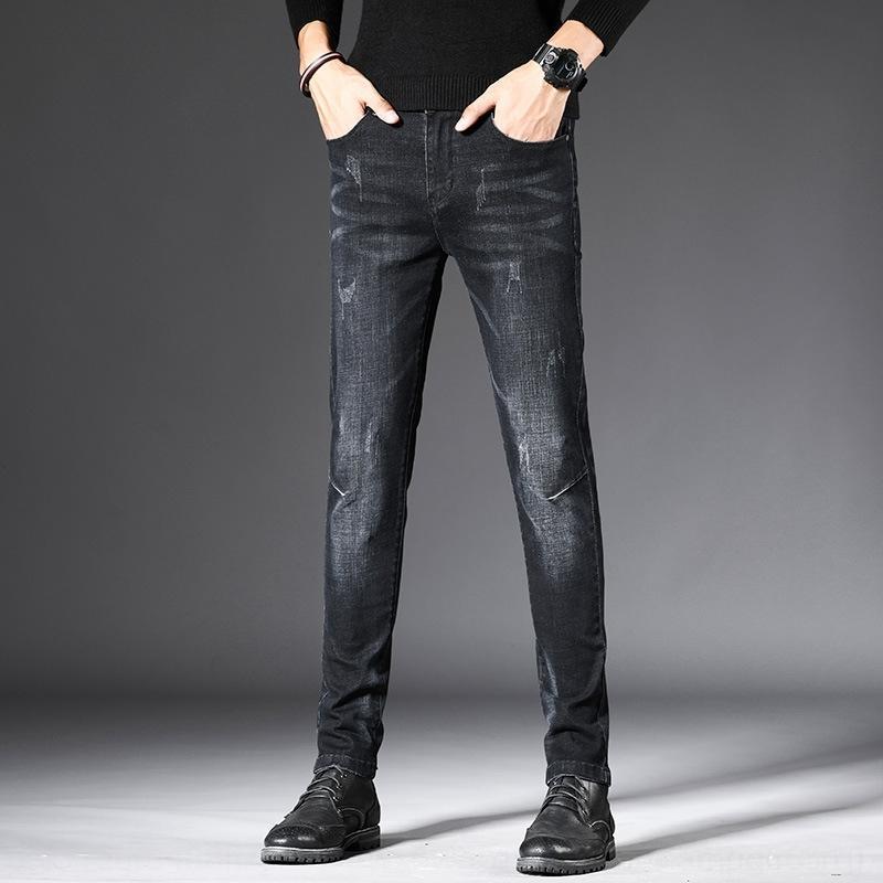 c0eaq Primavera Outono jeans casual calças da moda Slim Fit pés calças de brim dos homens dos homens da marca de estilo da moda coreana de 2020 novos e casuais calças