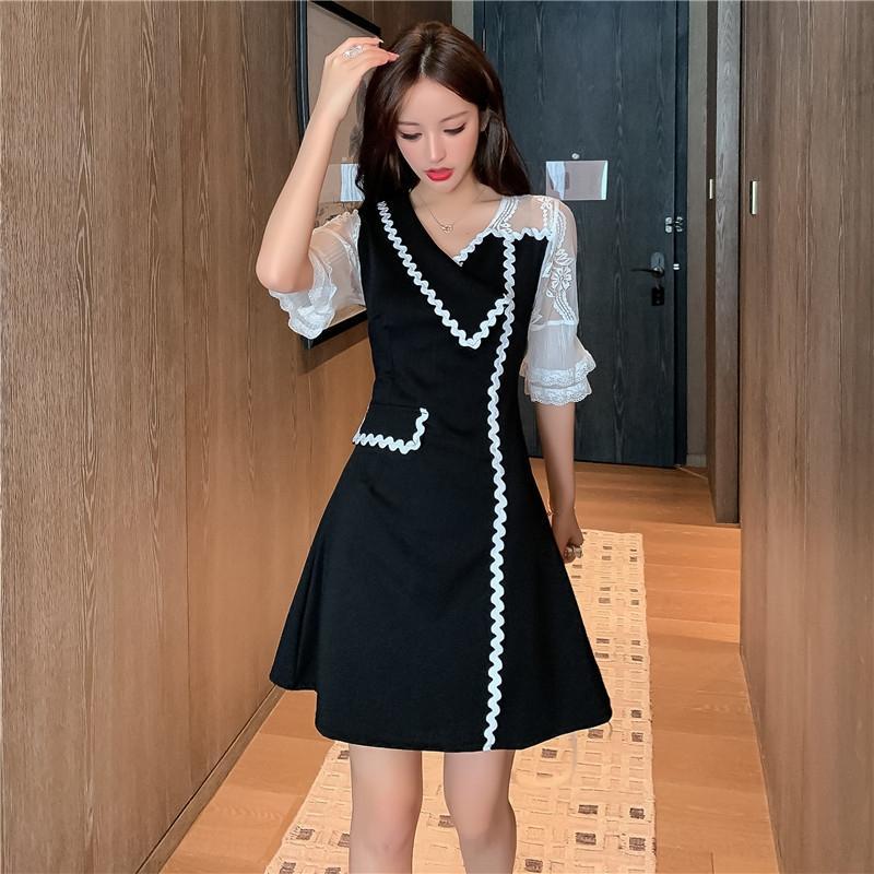 2020 nuevo estilo de moda de Corea del vestido de la solapa contraste XVKdw moda color de los cordones fQVgg delgada de las mujeres y el vestido femenino para las mujeres