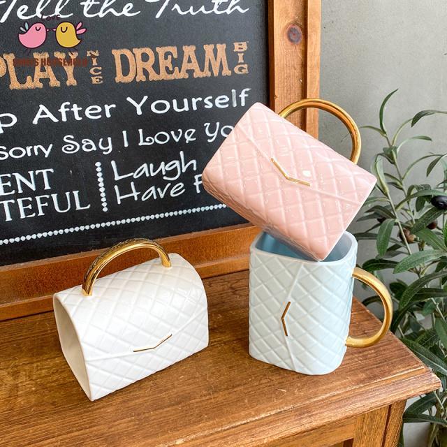 380ml Creative Fashion Handbag Shape Coffee Mugs Home Decoration Drink Cups Wholesale