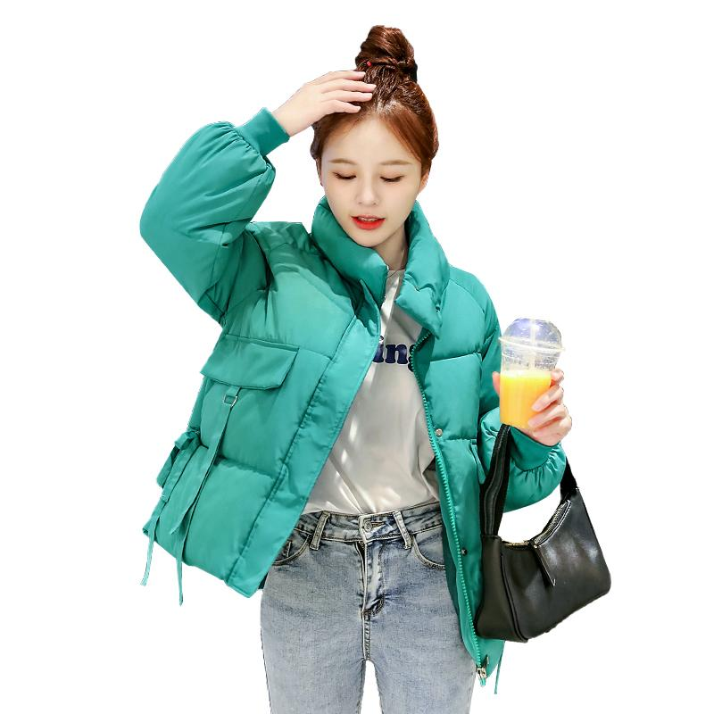 Winter Jacket Coat Women Parker New Solid Stand collar Short Jackets Thick Warm Cotton Padded Coats Large size Student Outerwear