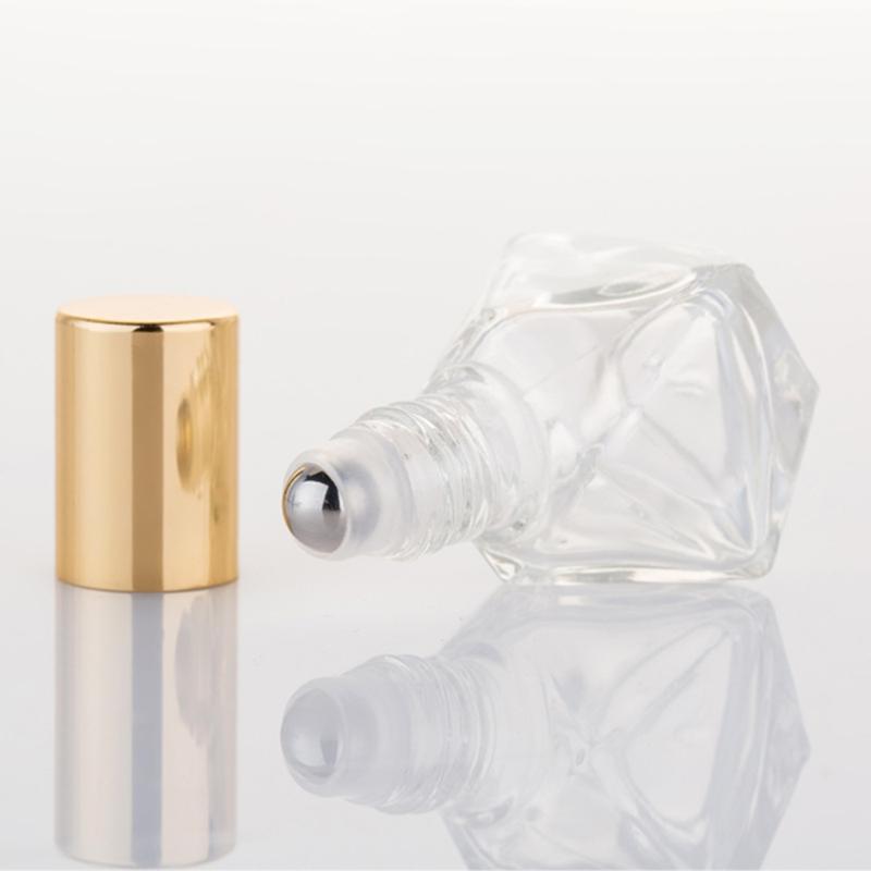 5PCS 8ML cristal Roll-on Botellas estrella de cinco puntas Ruta Botella creativa del grano del diamante del aceite Botella de aceite esencial multiuso Rol