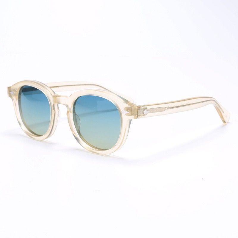 Weinlese-runde polarisierte Mann-Sonnenbrille Lemtosh Johnny Depp Imported Acetat Sonnenbrillen Frauen Korrektionsbrillen Oculos