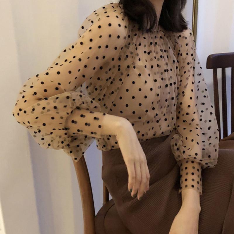 Mulheres Blusa doce Longo Puff luva Vintage Polka Dot Sexy Tops Sheer malha queda do outono coreano elegante escritório desgaste das senhoras Trabalho