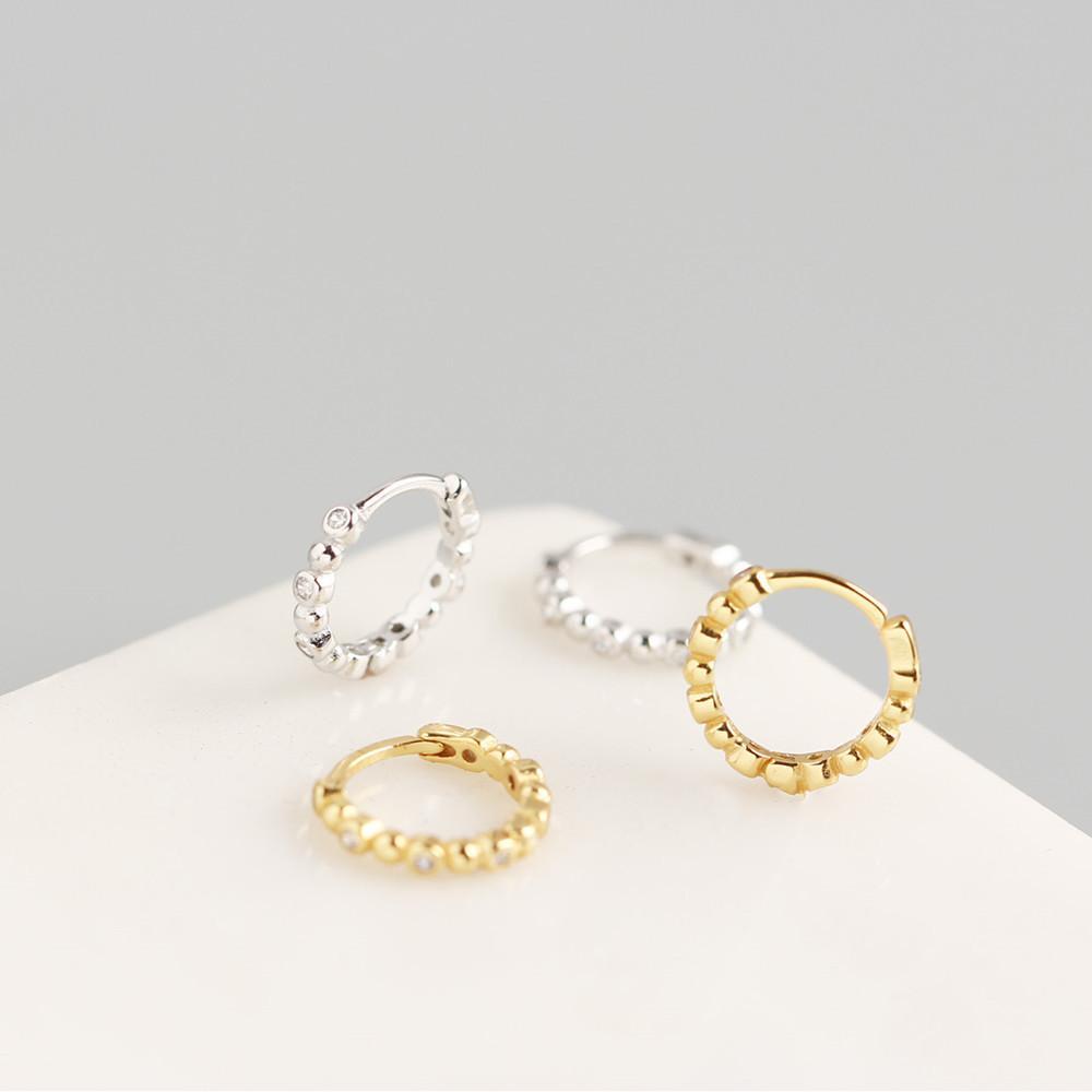 Kadınlar Zirkon Kristal Çember Küpeler 925 Gümüş Huggie Küpe Takı Hediye H4 için Junerain Altın Renk Küçük Hoop Küpeler