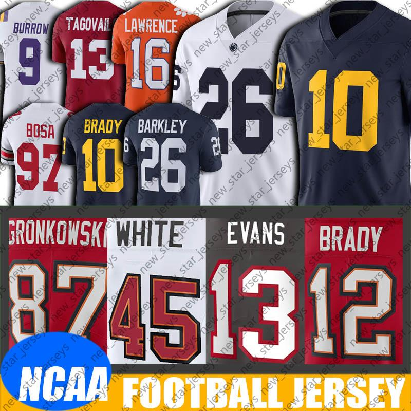 NCAA Michigan Tom Brady Saquon Barkley Jersey 8-20 Tom Brady Jersey Mike Evans Formalar Rob Gronkowski Chris Godwin Jersey Ronald Jones Adfg.