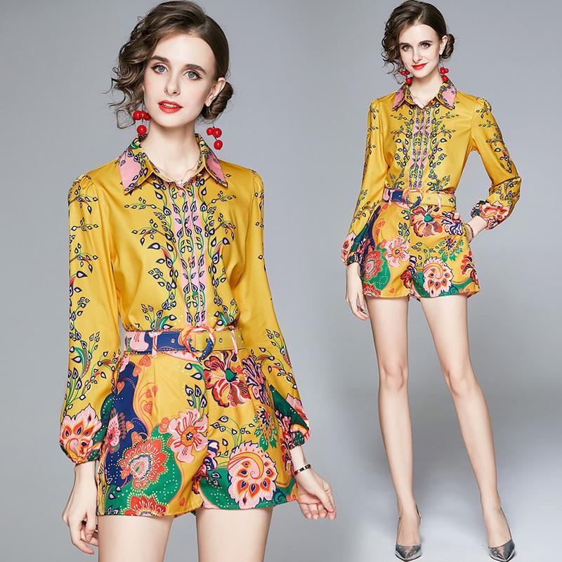 Fille Set Shirt + pantalon haut de gamme imprimé à manches longues Femmes Eté Automne Deux Piece Set Fashion lanterne manches élégantes Lady costumes