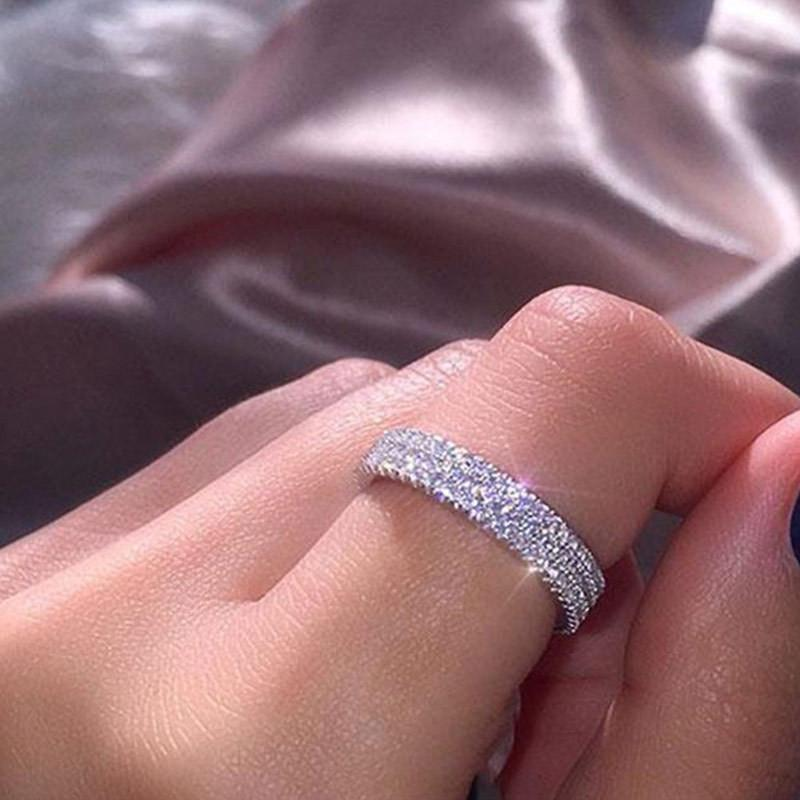 2020 Row linhas claras de cristal anéis de casamento para Mulheres Moda Rhinestone do aço inoxidável Feminino adolescente Jóias