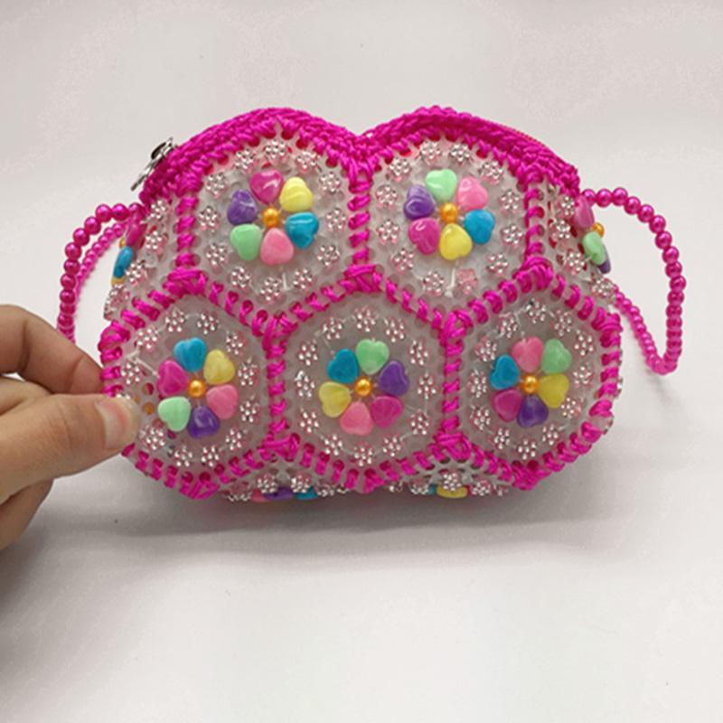 50pcs DHL omuz inci çiçeği çanta eli - renkli inci çanta Moda cep telefonu çantası bozuk para cüzdanı