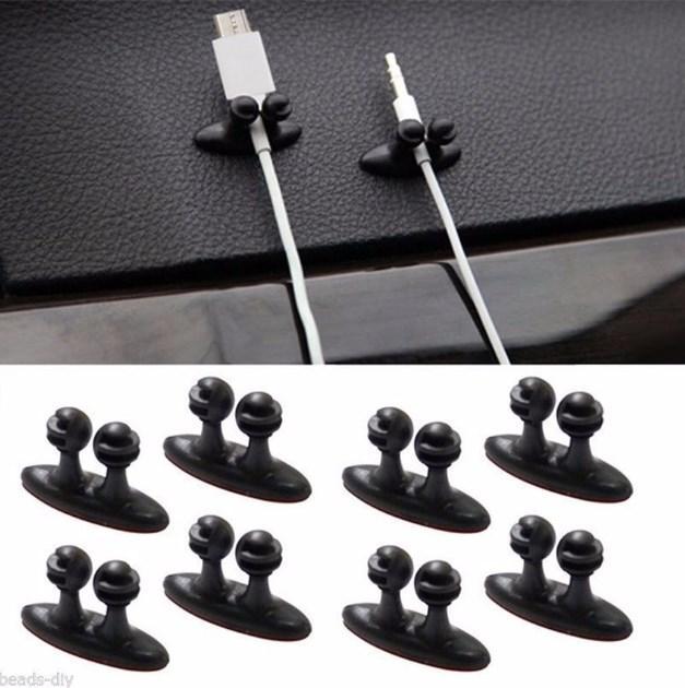 8pcs Mini Yapışkan Araç Şarj Hattı toka Kelepçe Kulaklık / USB Cable Car Klip Otomobil İç Aksesuar Ücretsiz Kargo