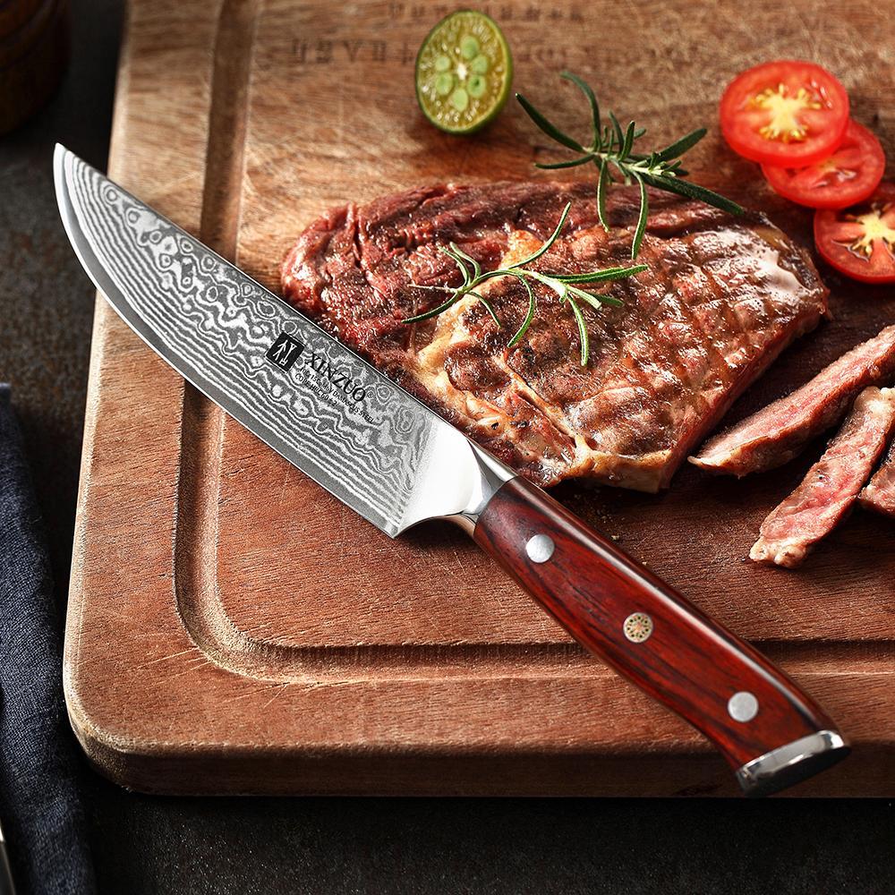 5 pulgadas Cuchillo de filete Damasco VG10 cuchillos de cocina de acero de alta calidad de herramientas de corte cuchillo de uso general con la manija del palo de rosa