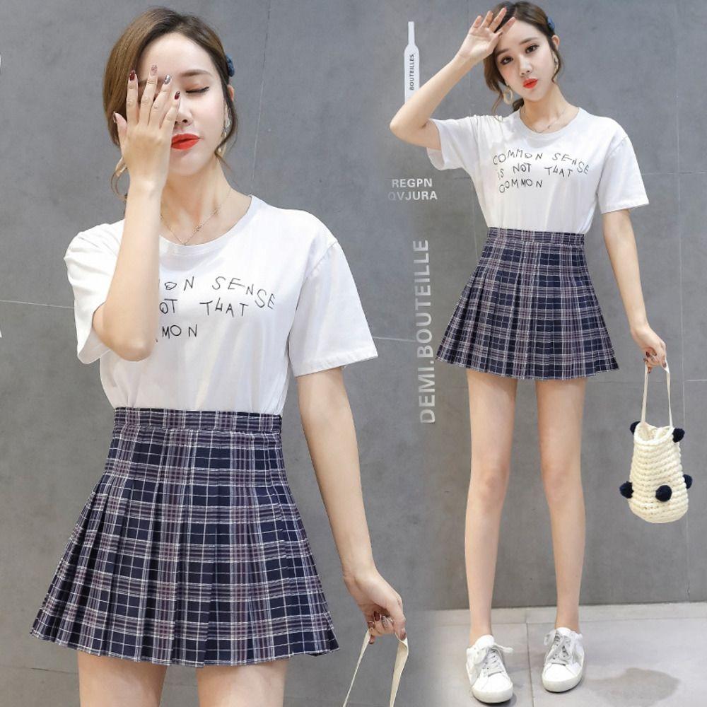 d7YcY 2020 Корейских Новой складка stylestyle высокой талии пледа тонкой плиссированной юбка тенниса весной и летом новая юбка