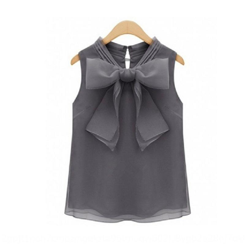 2020 Inicio de la mariposa camisa de primavera nueva gran lazo de organza sin mangas de la camisa ZlIqe todo-fósforo de las mujeres superiores