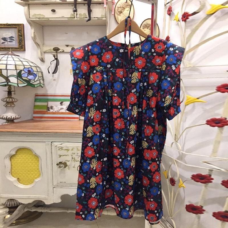 TRFPc 28Y3m Kore Dongdaemun 2020 kabarcık yeni etek A- ETEK A- Hattı kadın moda çiçek baskı Yaz kadınlar için A- çizgi elbise sleeve