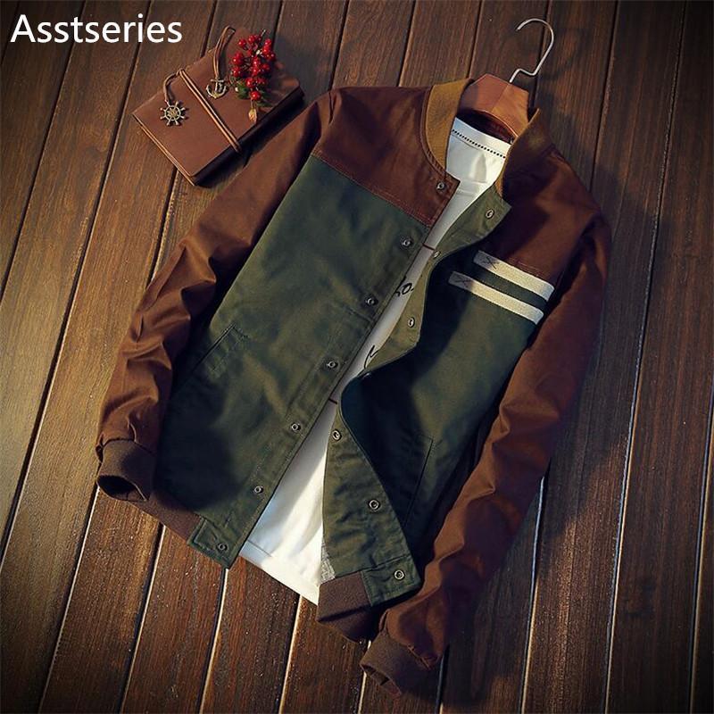 chaqueta de los hombres de Corea del otoño nueva cultiva su color a juego la moralidad párrafo corto chaqueta de cuello uniforme de béisbol masculina M-5XL