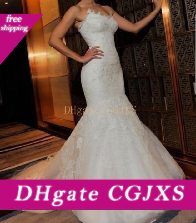 Namorada de Slim Lace apliques Sereia vestidos de casamento 2019 Formal personalizado online vestidos de noiva Vestidos De Casamento Oriente Médio Robe De Marie