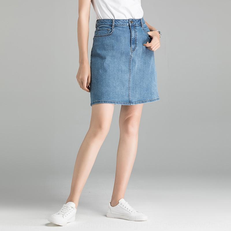 gohiS banliyö 2020 yaz New A One-Step kot ALINE kot hattı elbise etek kadın yaz tek adımlı ol etek