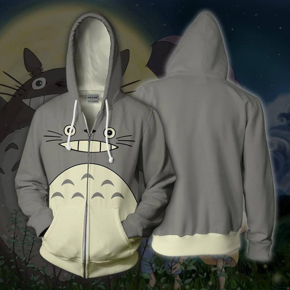 EH8oJ fermeture éclair animée Totoro Totoro avec capuchon pull imprimé imprimé de l'Anime 3D Chemise 3D avec zipper pull bouchon