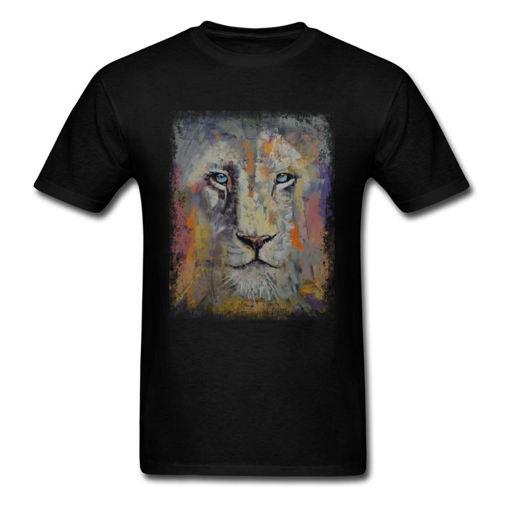 Pintura al óleo del arte del león camiseta de la obra clásica del verano del Mens del otoño Tee-Shirts cuello redondo manga corta hombre camisetas de algodón Europa Tamaño 5XL