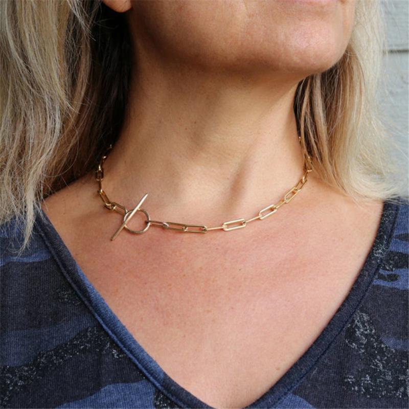 2020 Nova minimalista banhado a ouro Paperclip Cadeia Plain Círculo Colar de cadeia do aço inoxidável Colar Bar para Mulheres