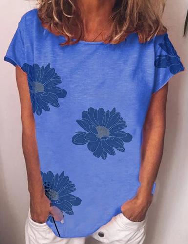 цветок напечатанных вокруг шеи 2020 новых женщин рыхлой 2020 новая женского цветка напечатанной вокруг шеи футболка свободных футболок 8ZnDm