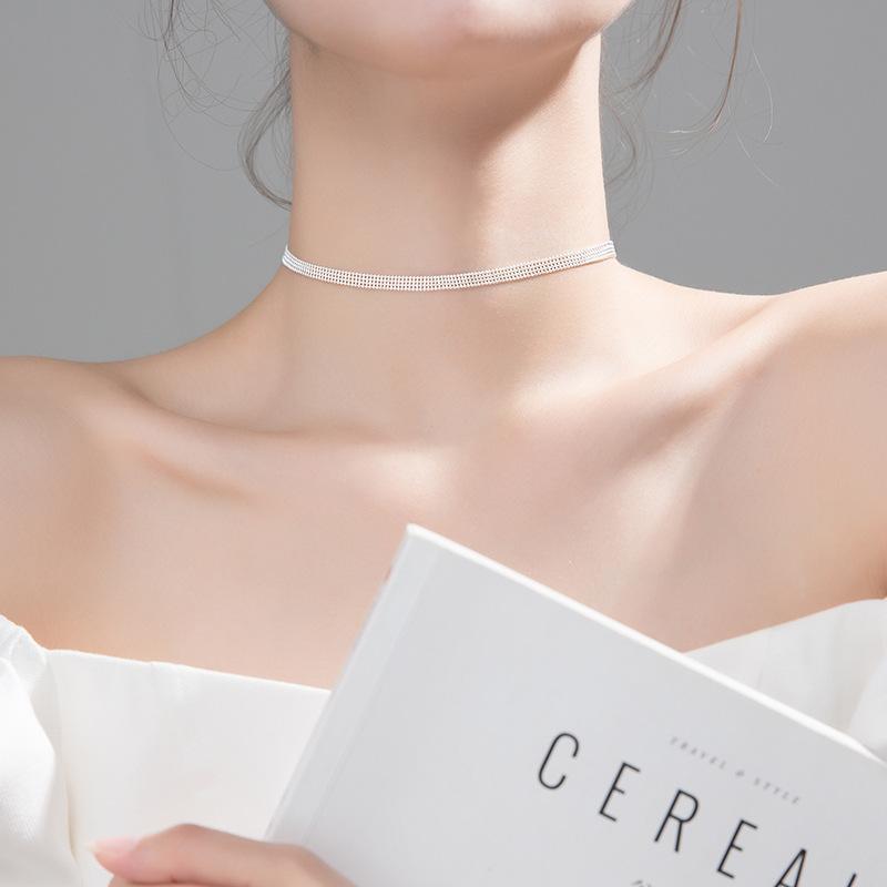 S925 Sterling Silber-Farben-koreanische Art und Weise vier Reihen Perlen-Halskette für Frauen Dame Tochter Verpflichtungs-Schmucksachen Geschenk