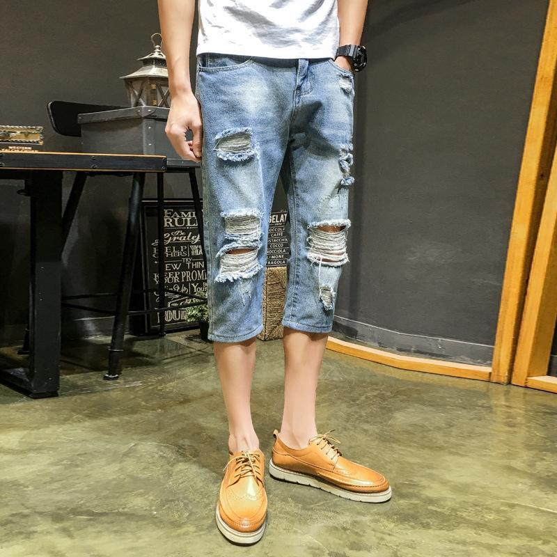 5QgKp gyYYw été denim marque Ripped tendance des adolescents hommes mendiant pantalon Capri culotte non élastique à la mode Shorts et
