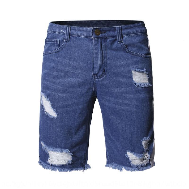 Pantalones agujero del verano de moda ancho de los hombres flojos de los nuevos hombres y pantalones cortos de mezclilla y pantalones cortos trendy mendigo pantalones pantalones QRssX