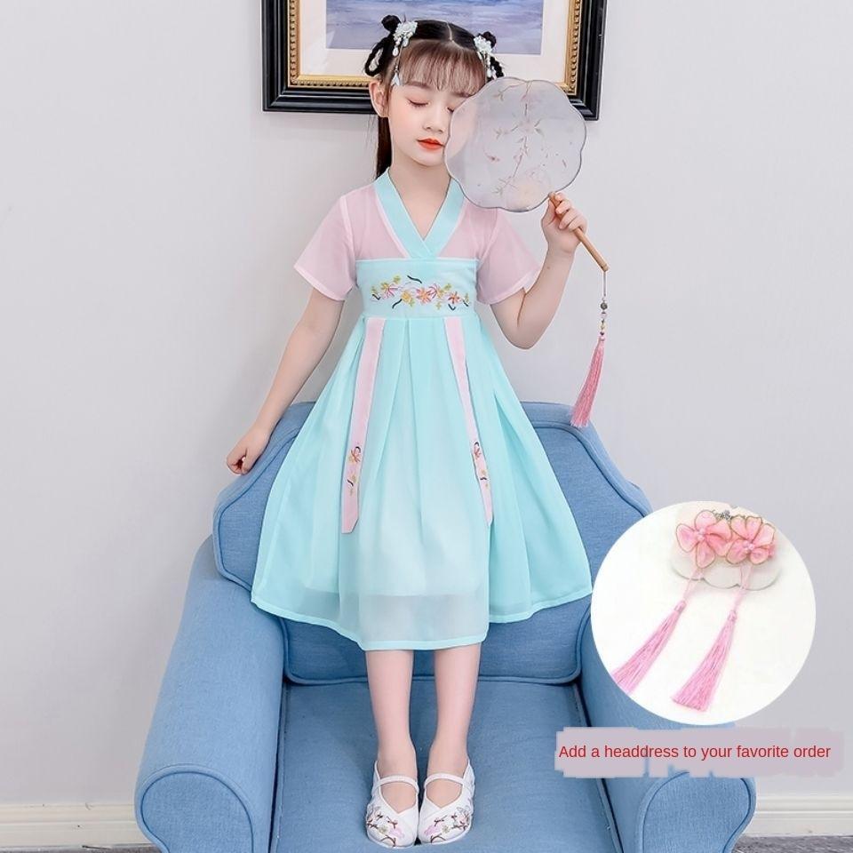 женский китайского стиль летнего платья среднего детского большой костюм древний стиль литий X0YAl костюм китайского 12 и одевать ребенок древних девушек
