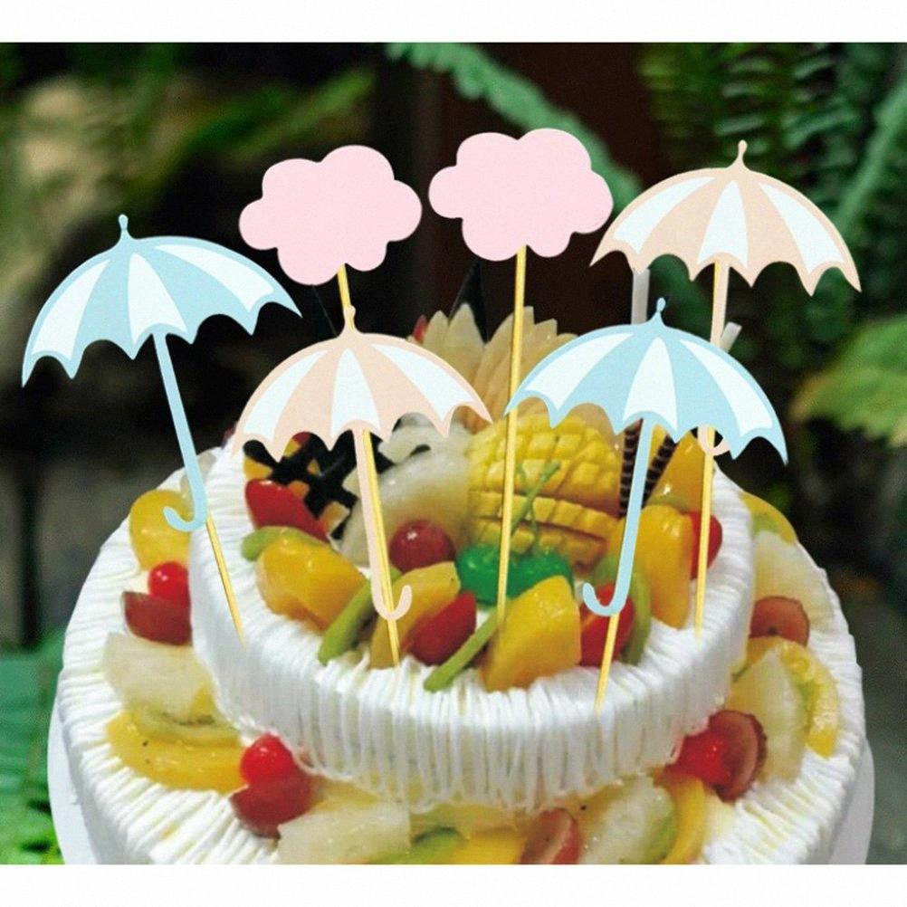 12pcs Nube Ombrellone cake topper sposa Cupcake Toppers Muffin Fruit Picks Baby Shower festa di compleanno rifornimenti di favori uODT #