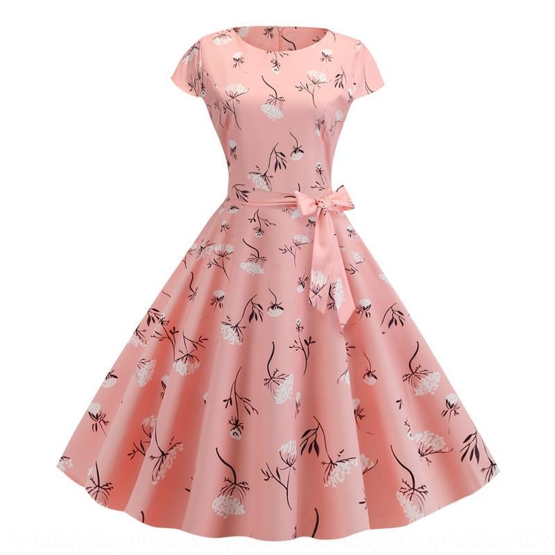 aDfgc RUNRx 2019 1950S 1950S 60S de moda vestido impreso oscilación grande 2019 falda grande falda grande del verano de verano de moda grandes 60S s impresos