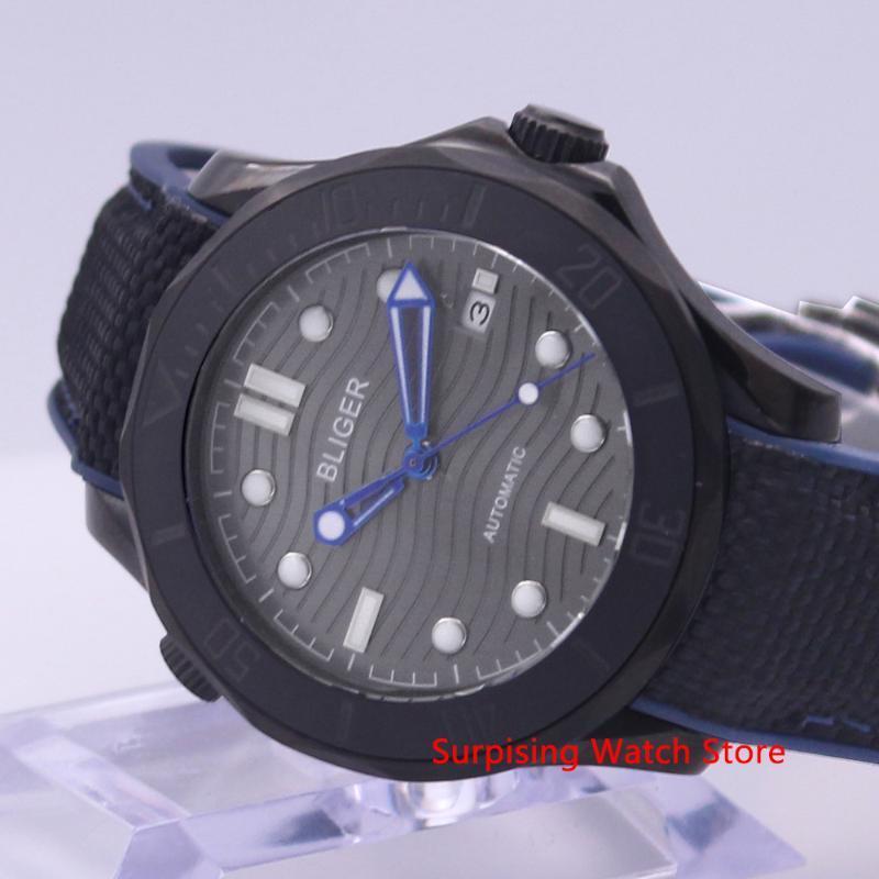 Bliger 41mm Montre mécanique automatique Montre Homme bracelet en caoutchouc lumineux calendrier Horloge étanche Montre Homme