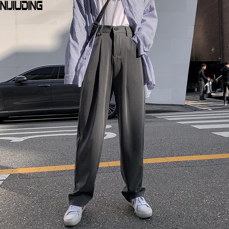 NIJIUDING mujeres traje pantalones del resorte Señora de la oficina pantalones largos 2020 nuevos pantalones de otoño sólido suelto de cintura alta bragas femeninas Vestodo LJ200813