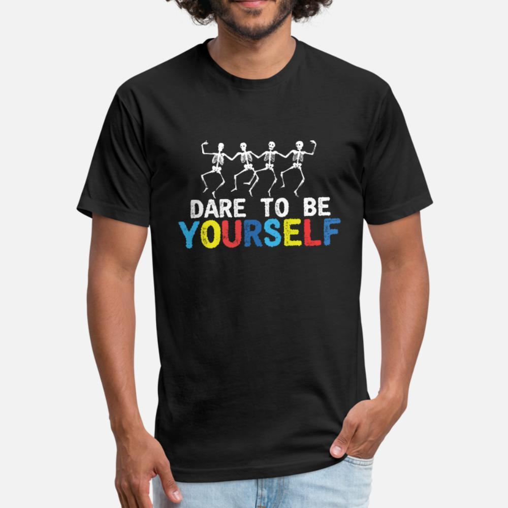 Dare To Be Yourself Skeleton Dance Dia das Bruxas t shirt homens personalizado 100% algodão gola redonda camisa fresca de verão de base sólida Fit Humor