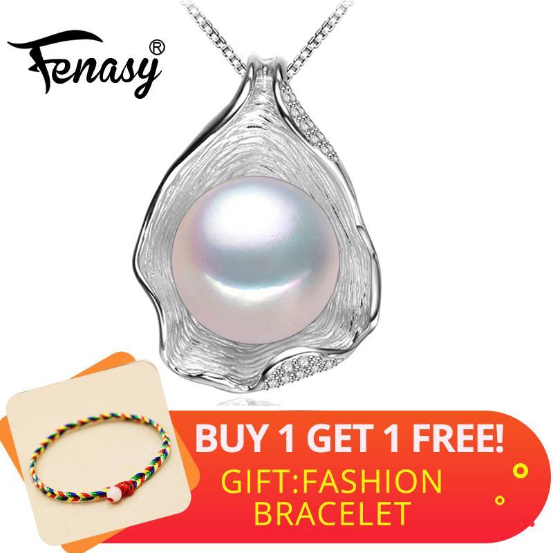 FENASY 925 Perle en argent sterling naturel d'eau douce collier pendentif Shell design de mode Bijoux en perles collier pour femmes Nouveau
