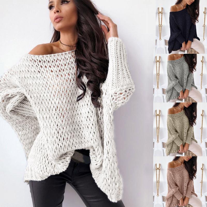 sexy 2020 delle donne di autunno inverno Slash Maglieria collo minimalista Tops coreana scavando fuori i maglioni lavorati a maglia Donne Pullover 803