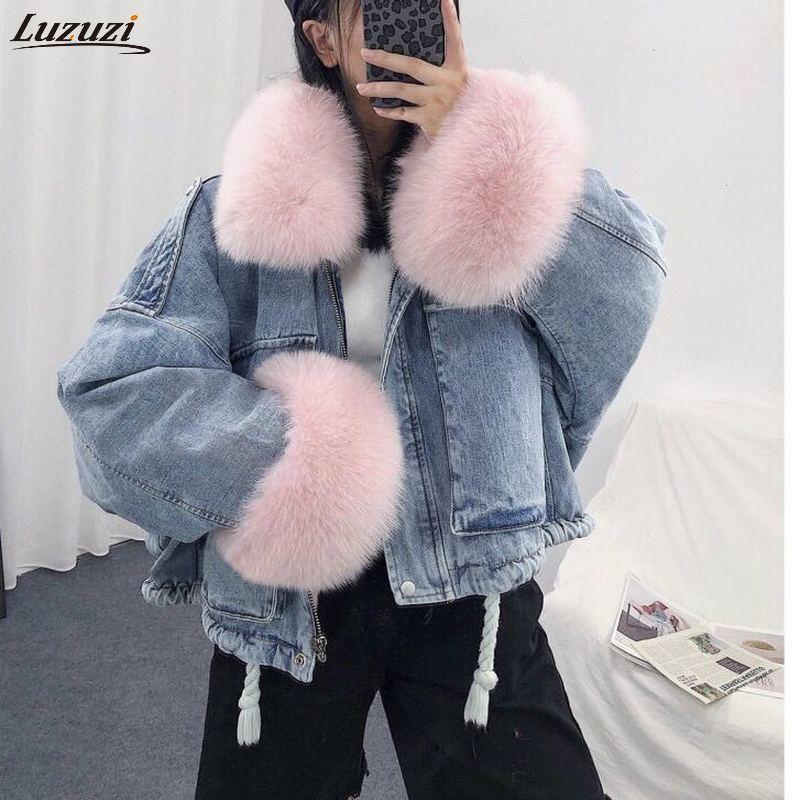 Luzuzi 2020 Kış Gevşek Denim Ceket Kadınlar Büyük Boy Kürk Yaka Artı Kadife Yastıklı Mont Vintage Pamuk Kalın Jean Coat Isınma