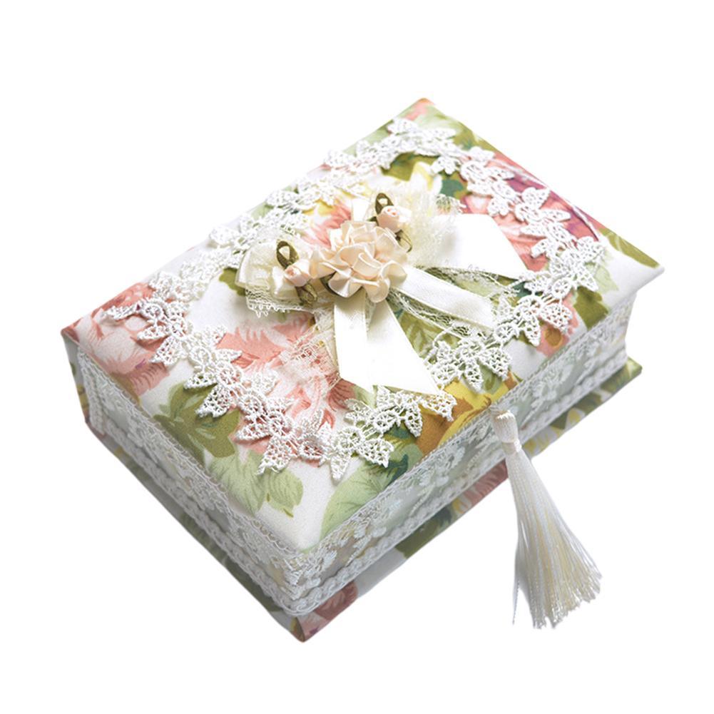 Encaje portátil Pastoral pendiente Ataúd Inicio envase de la caja regalo de la joyería Organizador