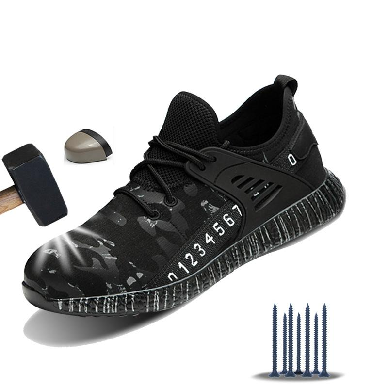 Scarpe Manlegu traspirante di sicurezza anti-smashing a prova di puntura di sicurezza Stivali per le dita dei piedi degli uomini dell'acciaio di lavoro Stivali indistruttibili Shoes