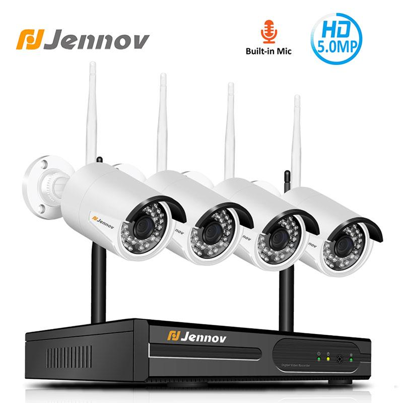 Jennov 4CH H.264 5MP Outdoor Video Surveillance Wireless IP Camera Audio Security WiFi HD Camera System Home CCTV Set NVR Kit