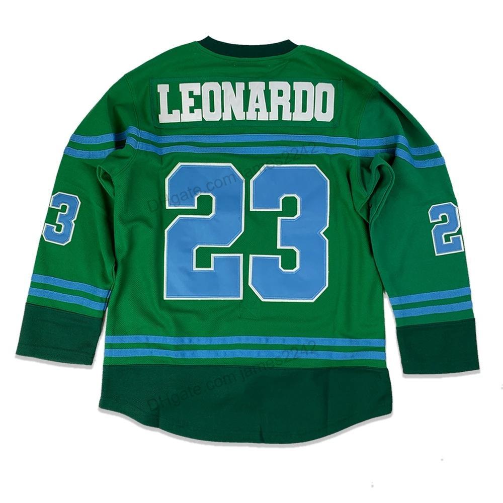 Дешевые заказ Оптовая # 23 TMNT Леонардо хоккей Джерси для мужчин Все прошитой зеленый размер 2XS-3XL 4XL 5XL 6XL Любые Рубашки Наименование