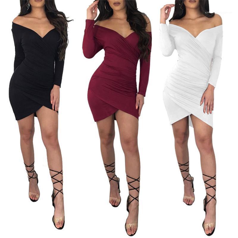 Renk Elbise Moda V Yaka Seksi Elbise Tasarımcı Kadın Casual Streetwear BODYCON Elbise Sonbahar Kadınlar Katı