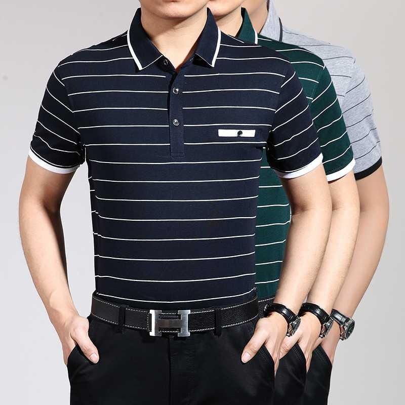2020 New summer men's casual striped short sleeve cotton shirts with turndown collar